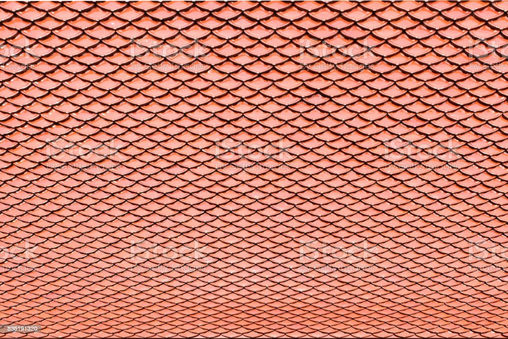 Detail Brown Ceramic Tile Roof Texture For Background Stock Photo