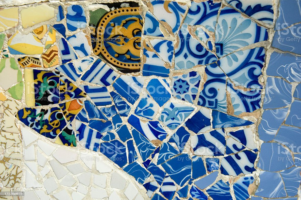 Detail ceramics Guadi bench in park Guell Barcelona, Spain royalty-free stock photo