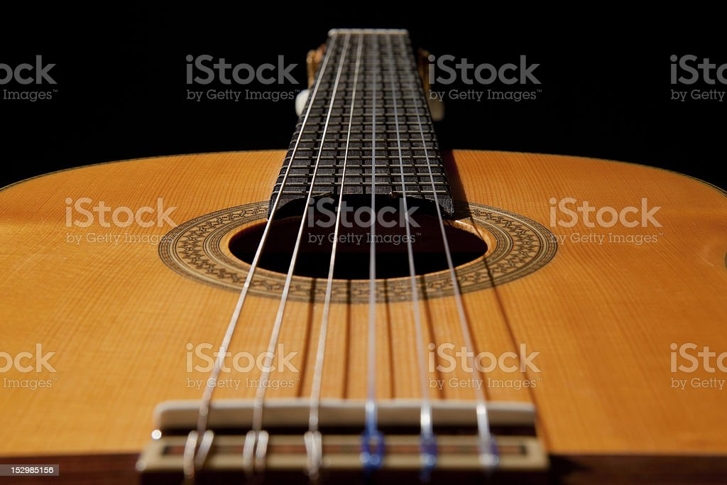 Detail classic guitar with shallow depth of field stock photo