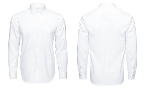 Detail closeup business or classic white shirt, front and back view, isolated white background with clipping path. stock photo
