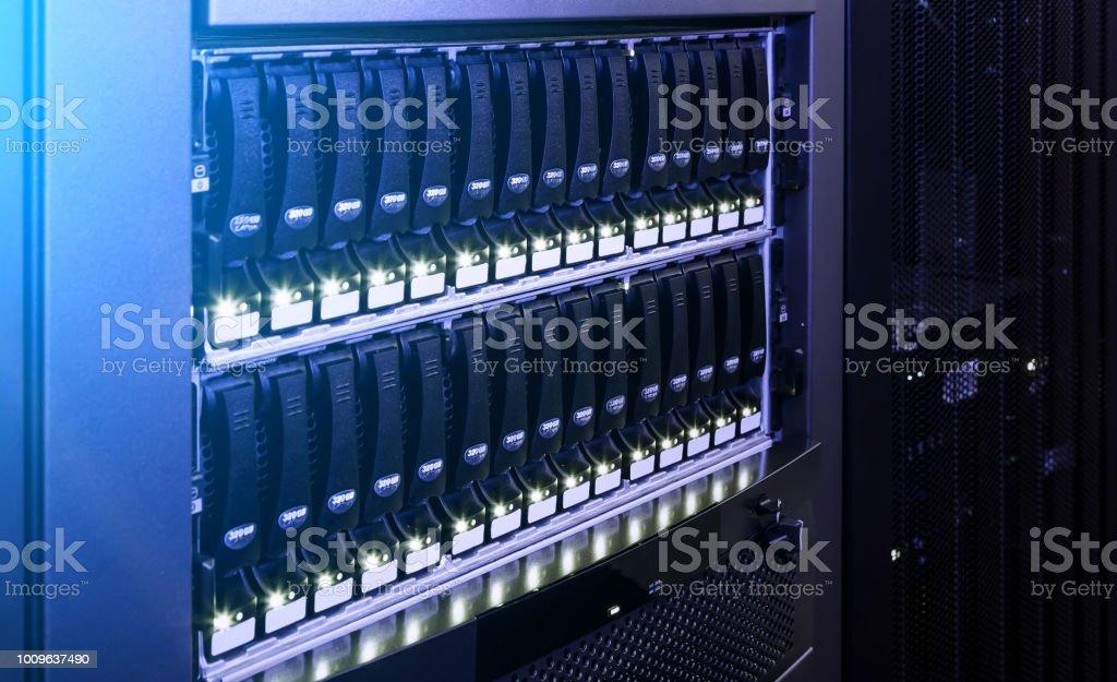 data center modern disk storage perspective closeup
