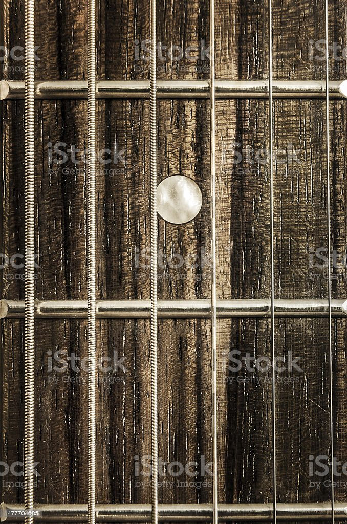 Detail close-up view of guitar strings and frets stock photo