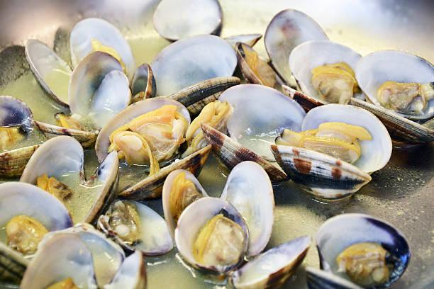 detail cooking of clams in a pan - mięczak zdjęcia i obrazy z banku zdjęć