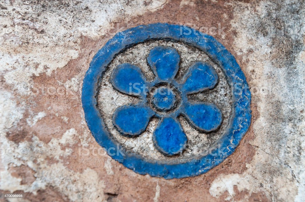 Detail decorative  from turquoise tiles of Jahangir Mahal stock photo