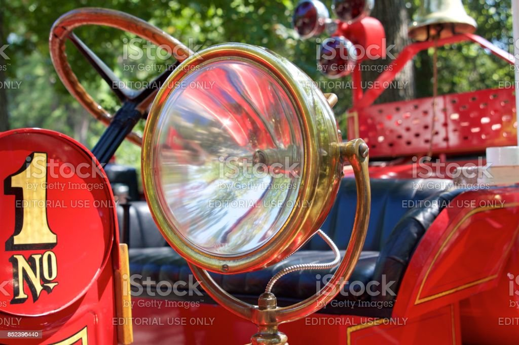 Detail from a 1921 REO/Boyer Fire engine stock photo