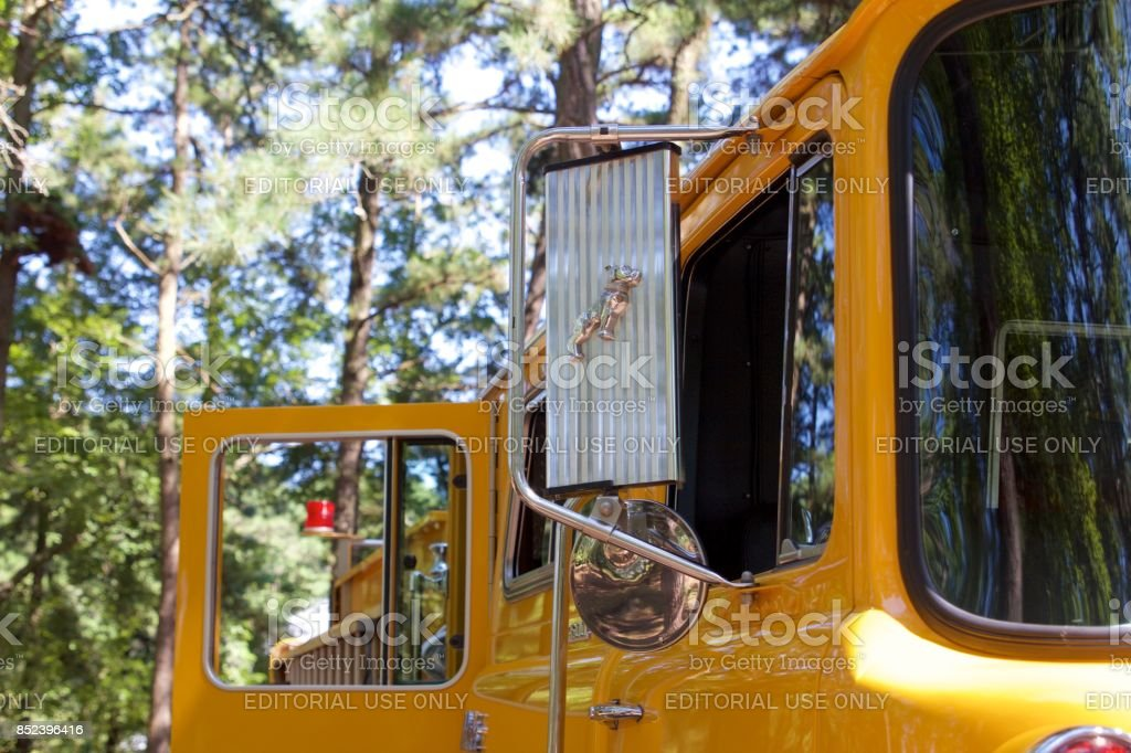 Detail from a yellow 1977 Mack/KME pumper stock photo