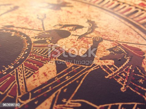 istock Detail from an old historical greek paint. Mythical heroes and gods fighting on it 962696140