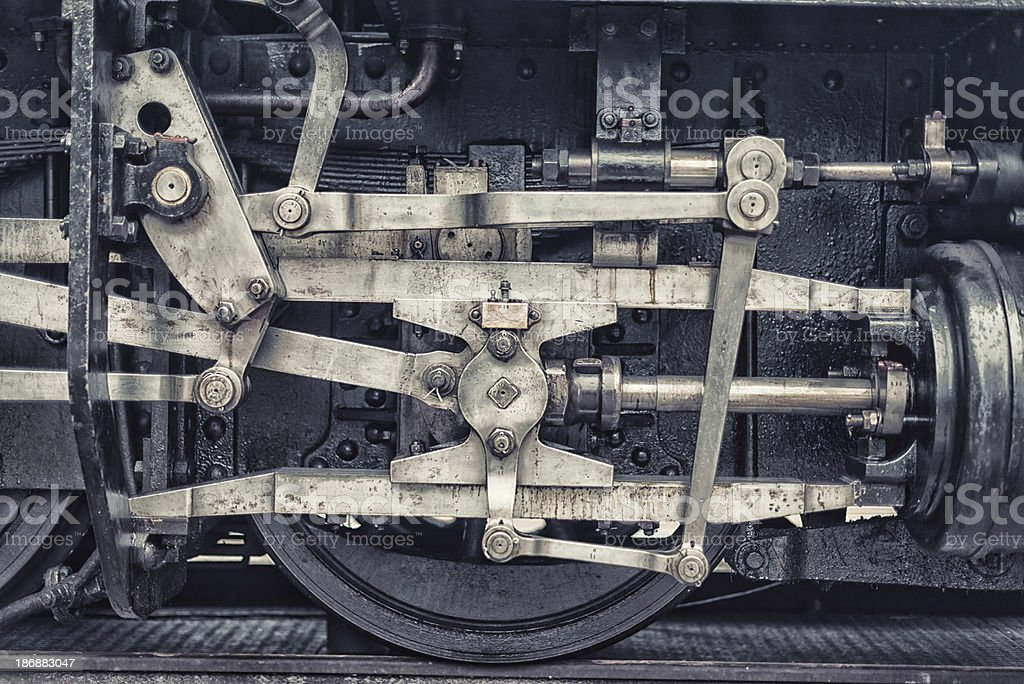 detail from an old steam train engine locomotive royalty-free stock photo
