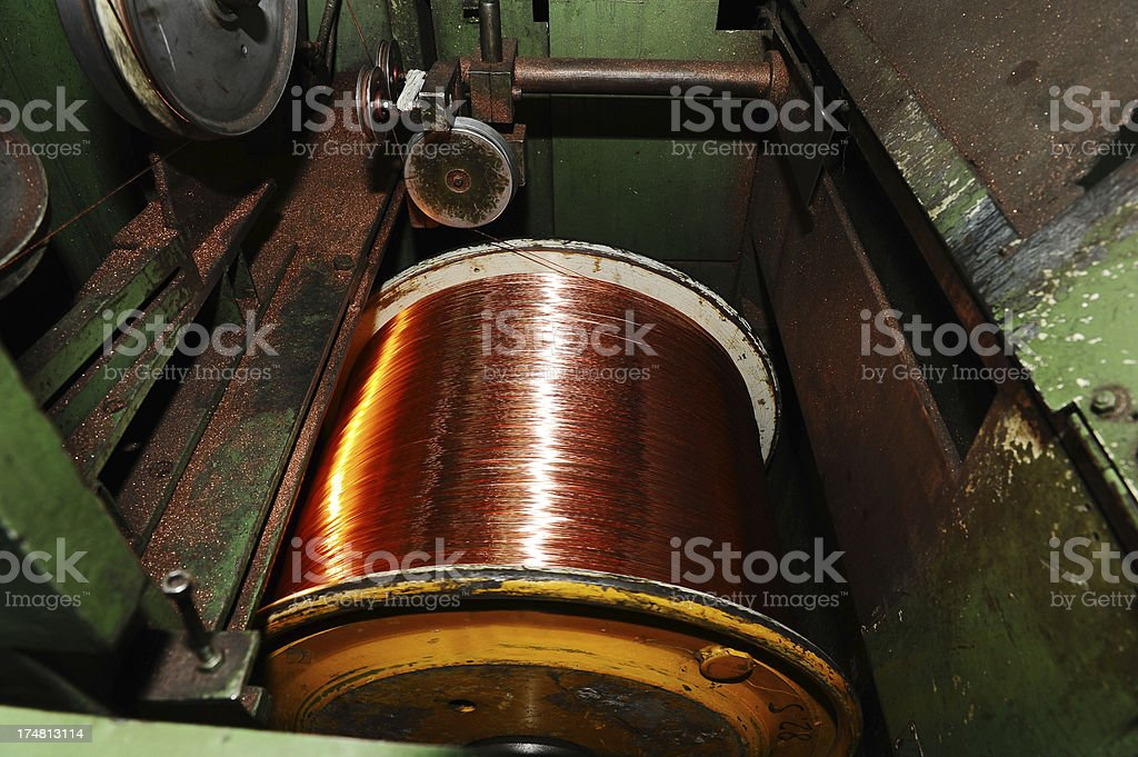 Detail from copper wire factory royalty-free stock photo