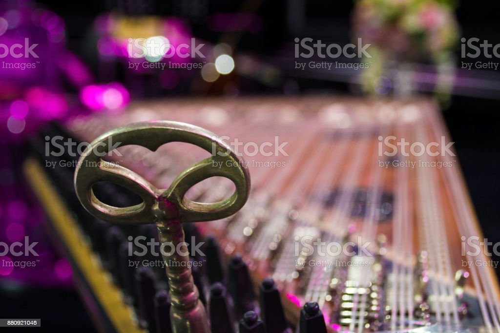 detail from kanun a turkish classical music instrument played on laps stock photo