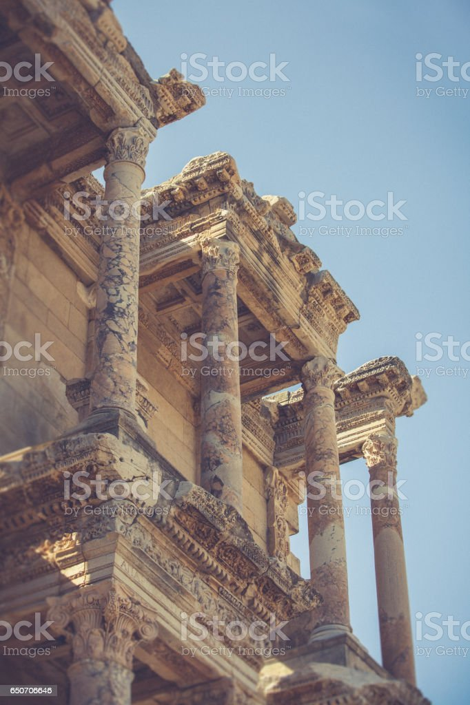 Detail from Library of Celsus stock photo