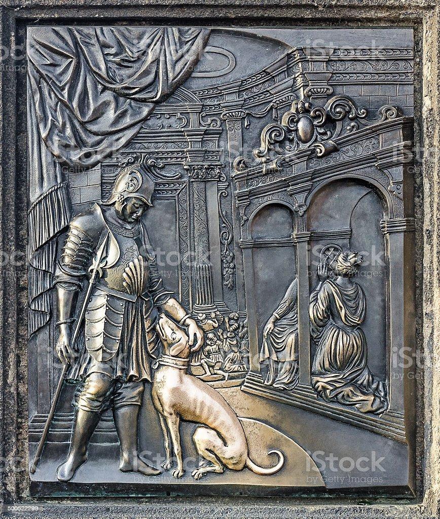 Detail from martyrium of st. john, Charles bridge in Prague stock photo