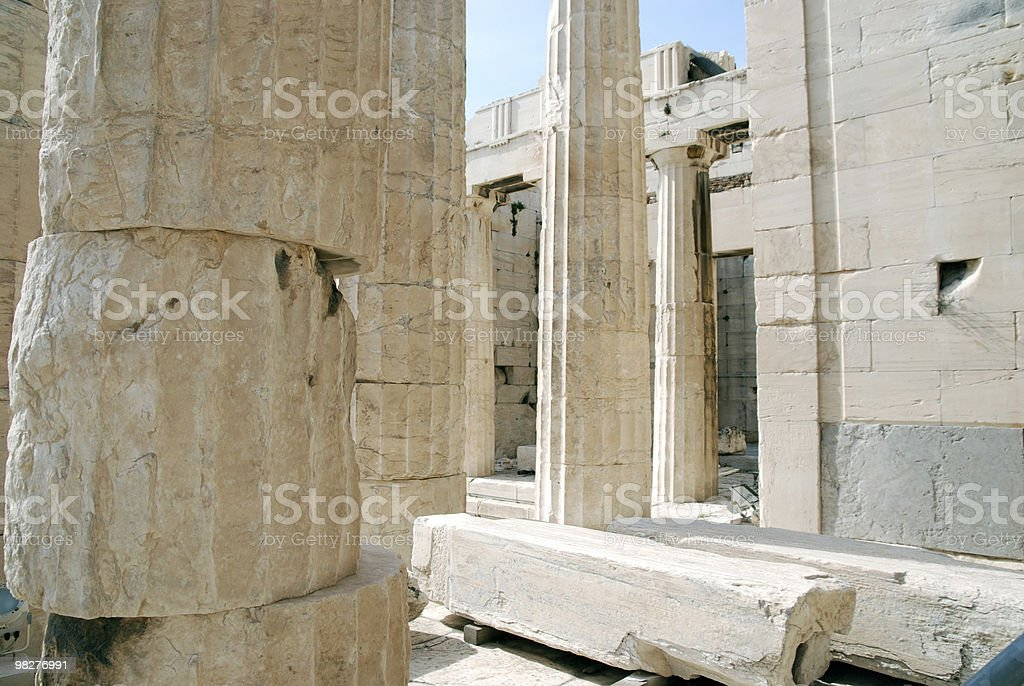 detail from Propylaea Gate, Acropolis, Athens royalty-free stock photo