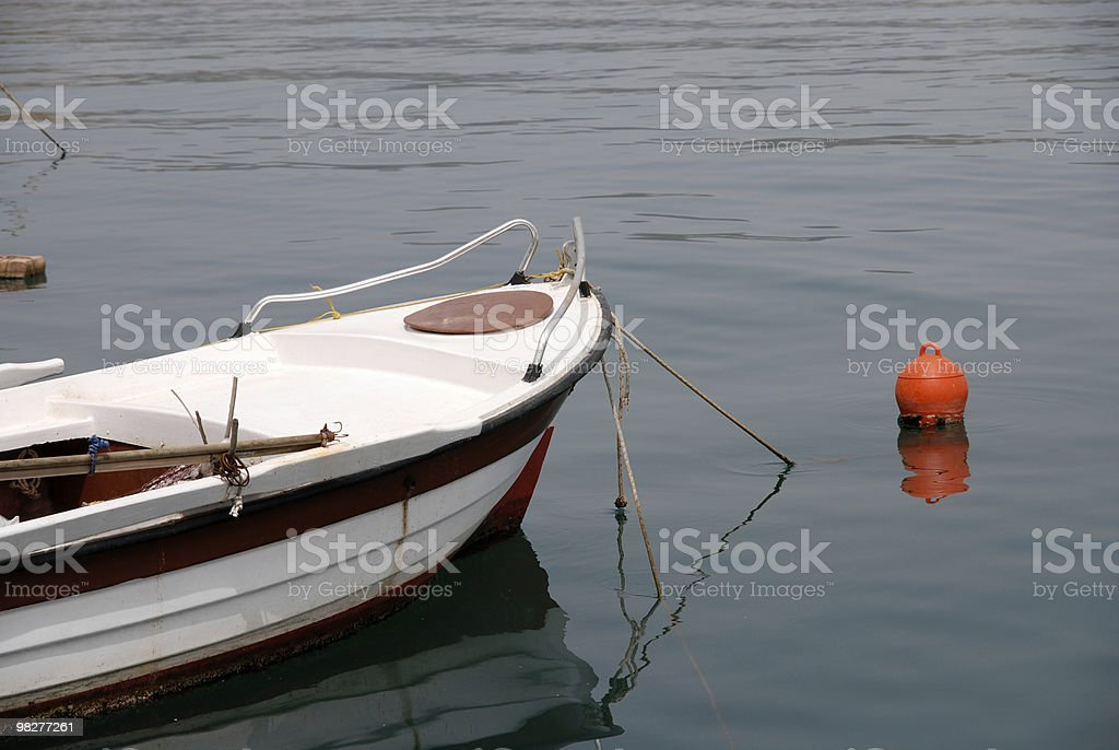 detail from skiff with orange buoy royalty-free stock photo