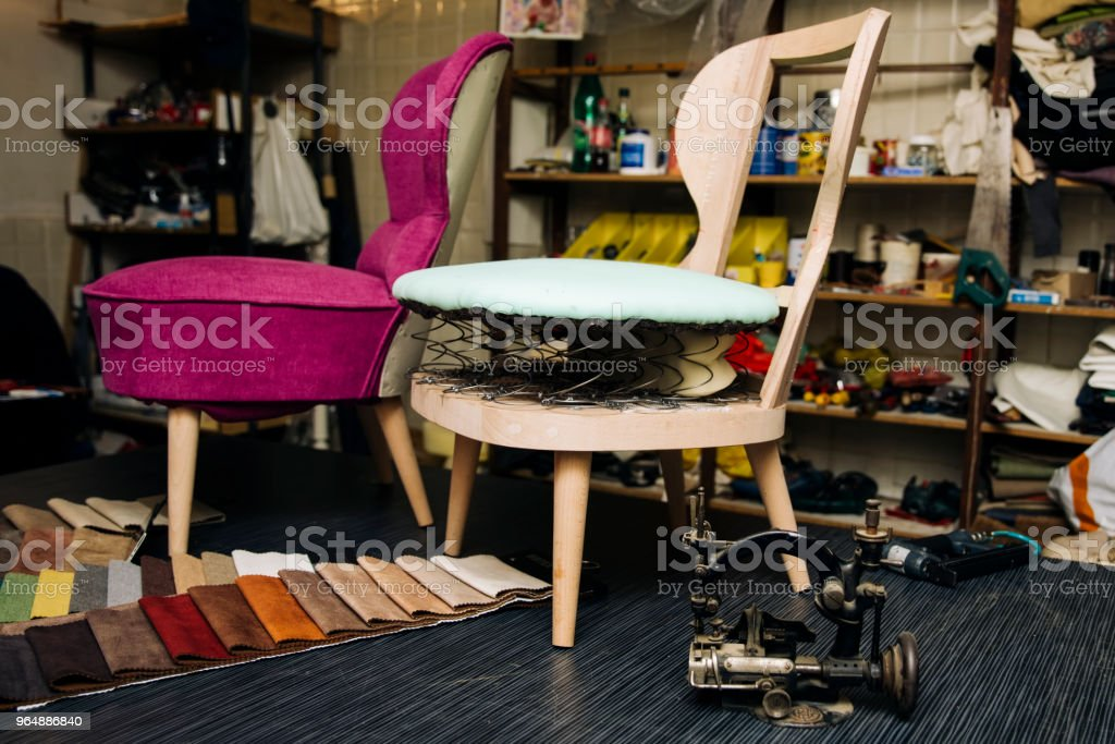 Detail from the upholstery workshop royalty-free stock photo