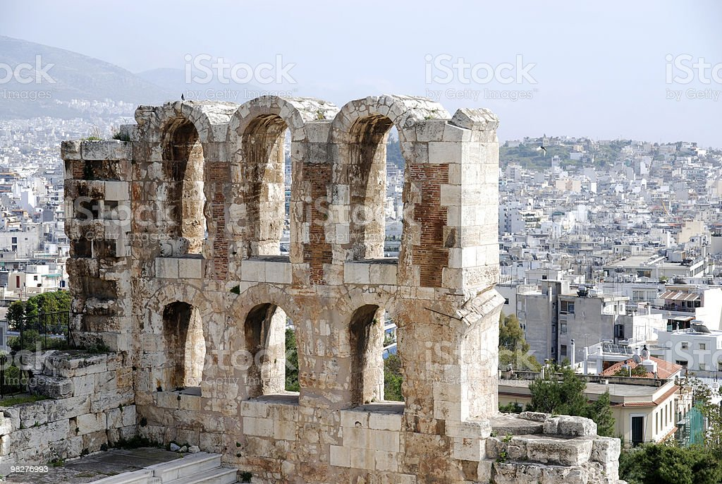 Detail from Theater Of Herodes Atticus at Acropolis over Athens royalty-free stock photo