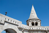 Budapest, Hungary: Detail from touristic attraction Fishermen's Bastion in Buda Castle, neo-gothic style stone building with towers