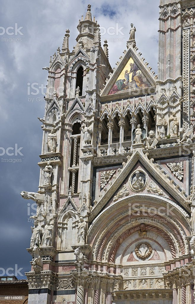 Detail Front of Cathedral (Duomo) in Siena, Italy stock photo