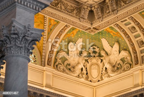 Detail of the Great Hall Library of Congress, Washington, D.C. USA.