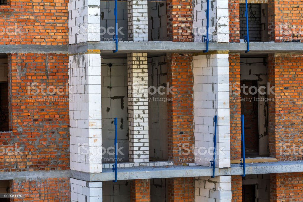 Detail image of new apartement building under construction stock photo