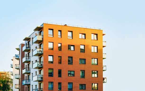 Detail in Modern residential apartment and flat building exterior stock photo