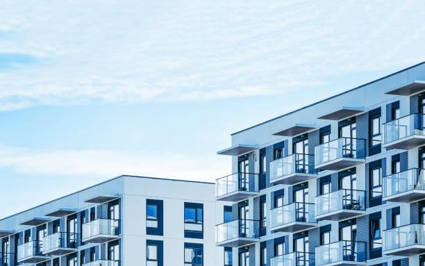 현대 주거 아파트 평면 건물 외관의 세부 사항 - 아파트 뉴스 사진 이미지