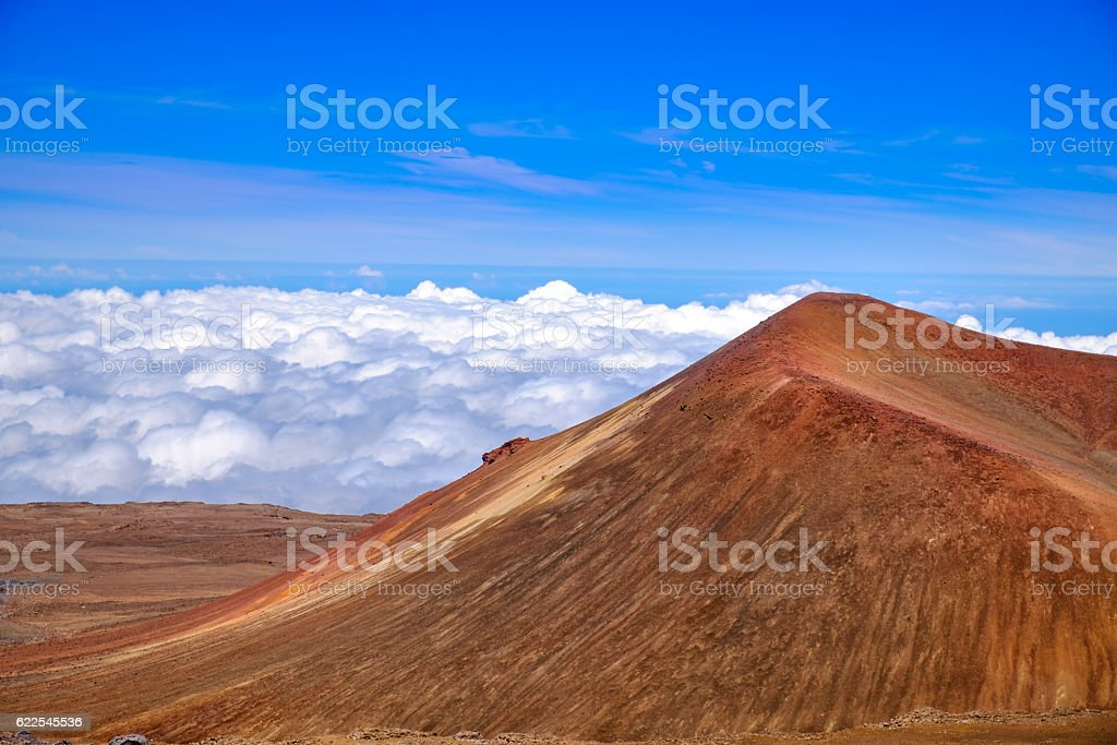 Detail landscape view of volcanic crater on Mauna Kea, Hawaii stock photo