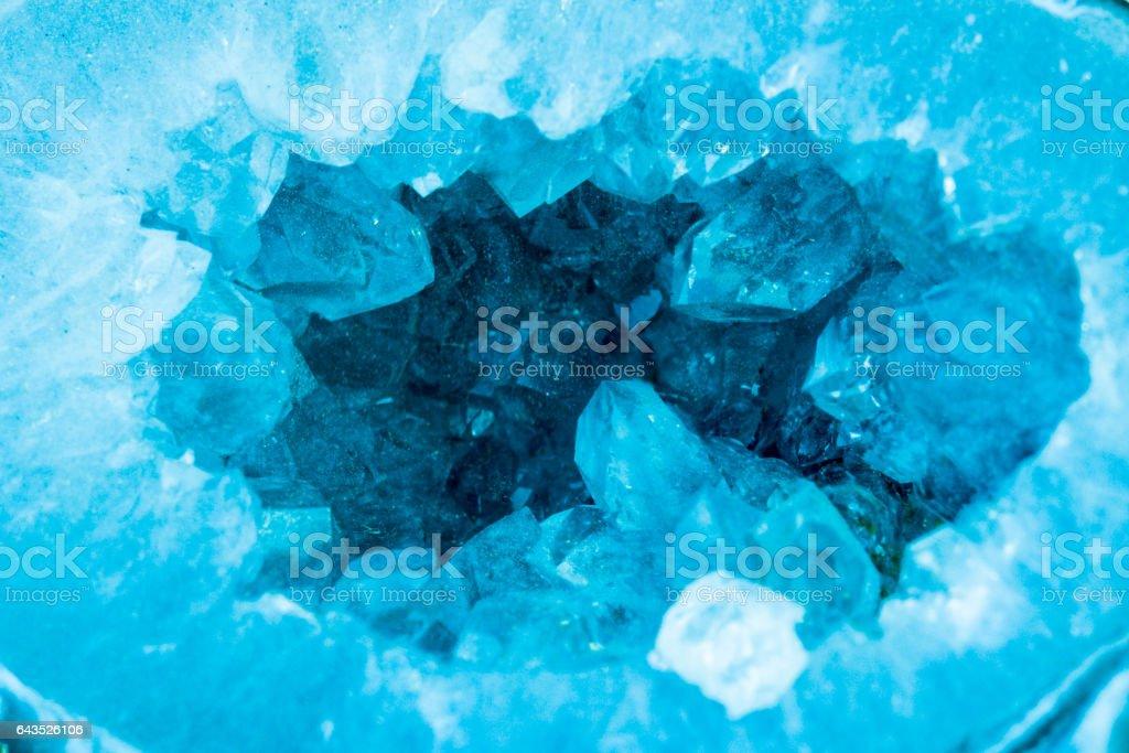 detail macro of a aquamarine color geode.Beautiful natural crystals gemstone. stock photo