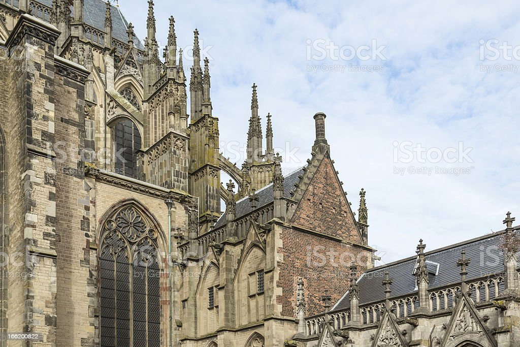Detail medieval Dom Cathedral of Dutch city Utrecht royalty-free stock photo