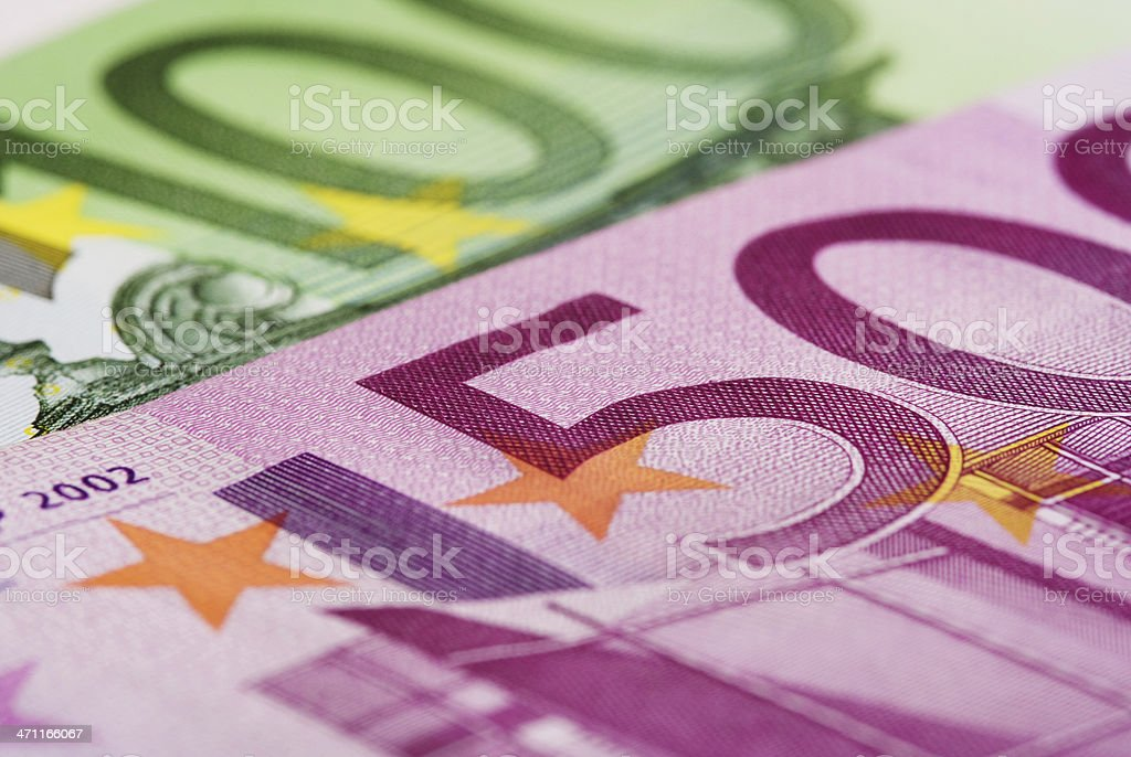 Detail of 100€ and 500€ bill. royalty-free stock photo