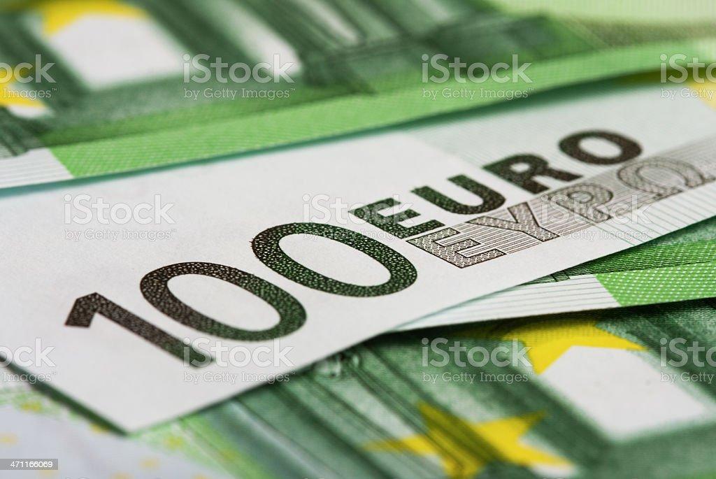Detail of 100€ bills. royalty-free stock photo