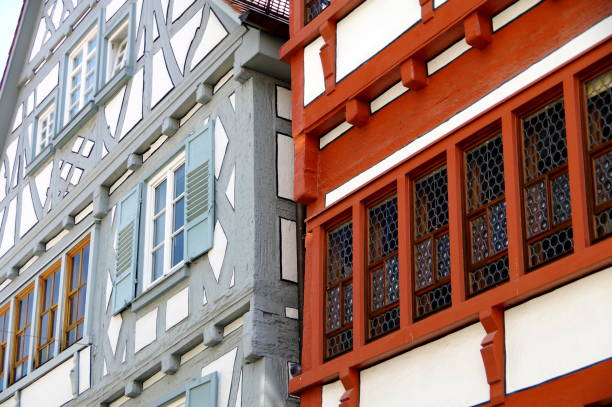 Detail of 2 half-timbered houses in southern Germany after successful renovation Polfilter, half timbered stock pictures, royalty-free photos & images