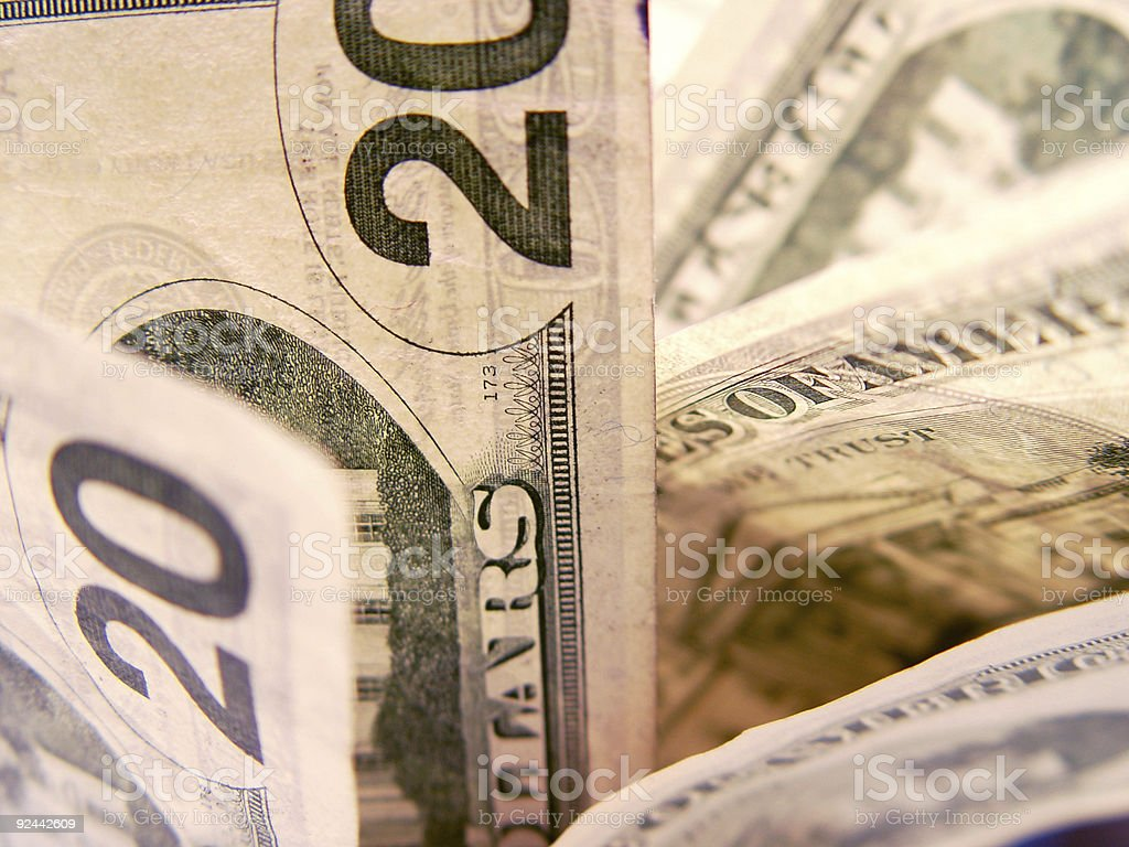 Detail of 20 dollar bills royalty-free stock photo