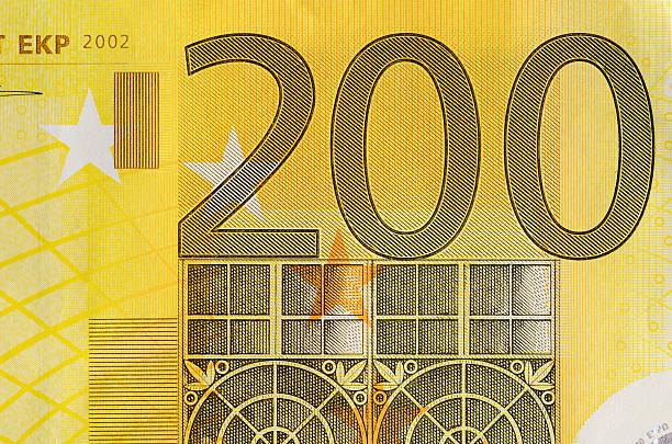 Detalle de 200 euro bill - foto de stock