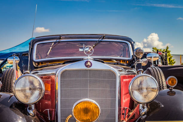 Detail of a 1939 Mercedes-Benz 230 W143 limousine oldtimer car at the US Car Meeting event in Ulm, Germany stock photo