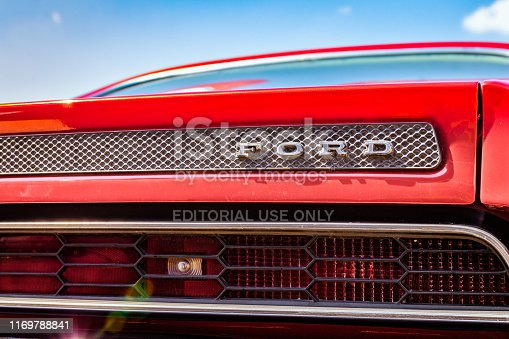 Ulm, Germany - August 4, 2019: Detail of a 1971 Ford Torino GT oldtimer car at the US Car Meeting event in Ulm, Germany.