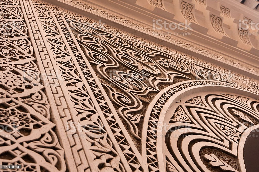 Detail of a Arab decoration in the El Badi Palace. stock photo