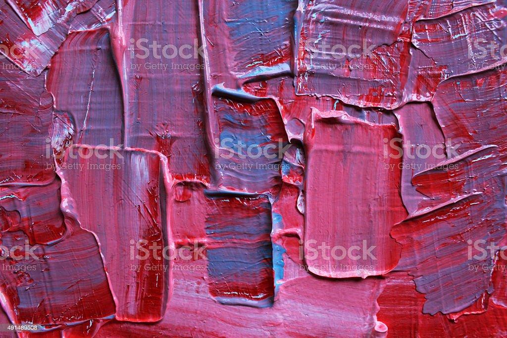 Détail d'une peinture bleue et rose acrylique. - Photo