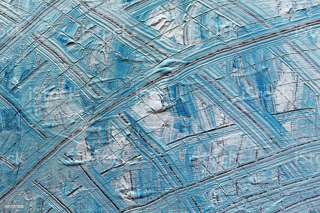 Detail of a blue and white acrylics painting. stock photo