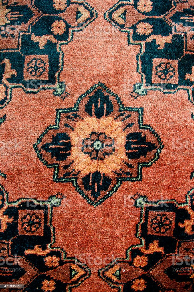 Detail of a brown tribal rug royalty-free stock photo