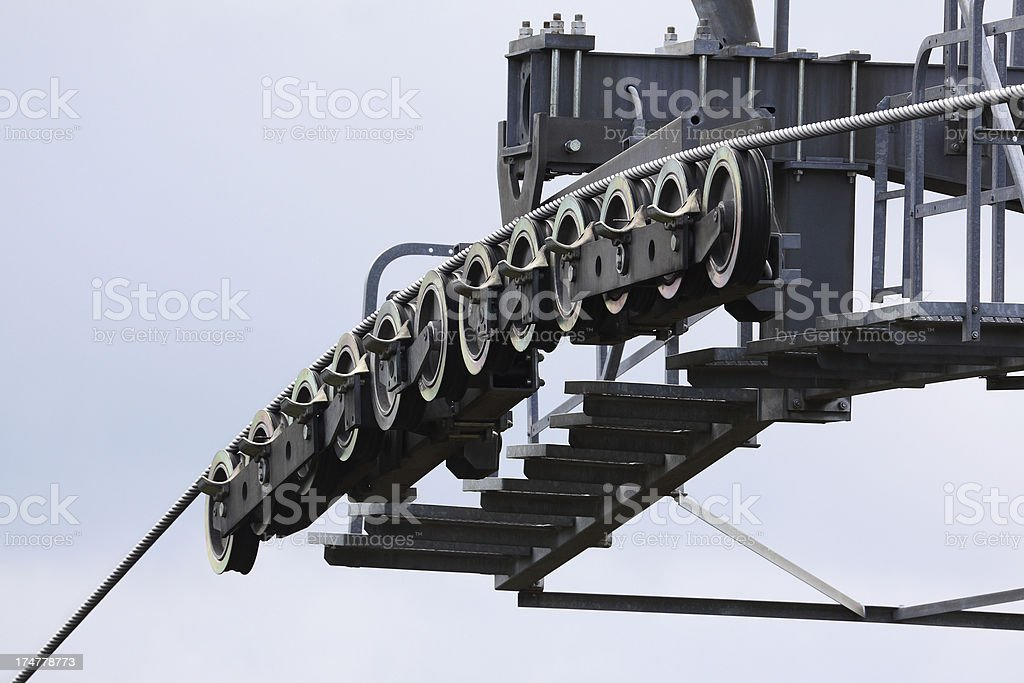 Detail of a cableway royalty-free stock photo