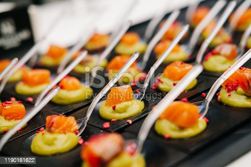 Detail of a canapes of a meal at an event, wedding, meeting or congress with foodDetail of a canapes of a meal at an event, wedding, meeting or congress with food