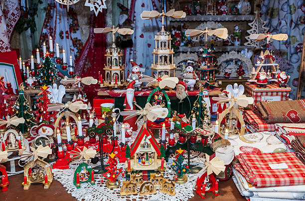 Detail of a Christmas Market Stand stock photo
