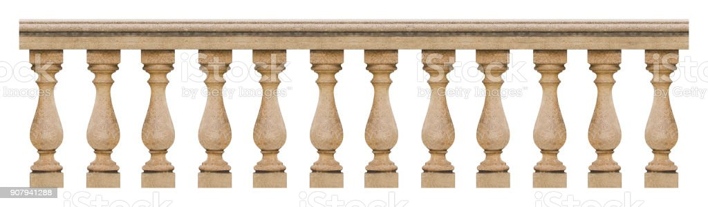 Detail of a concrete italian balustrade - seamless pattern concept image on white backgroud for easy selection stock photo