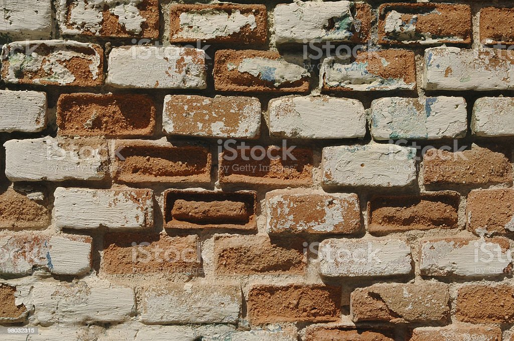 Detail of a crumbling brick wall. royalty-free stock photo