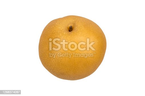 Asian pear or Nashi pear with leaf isolated on white background