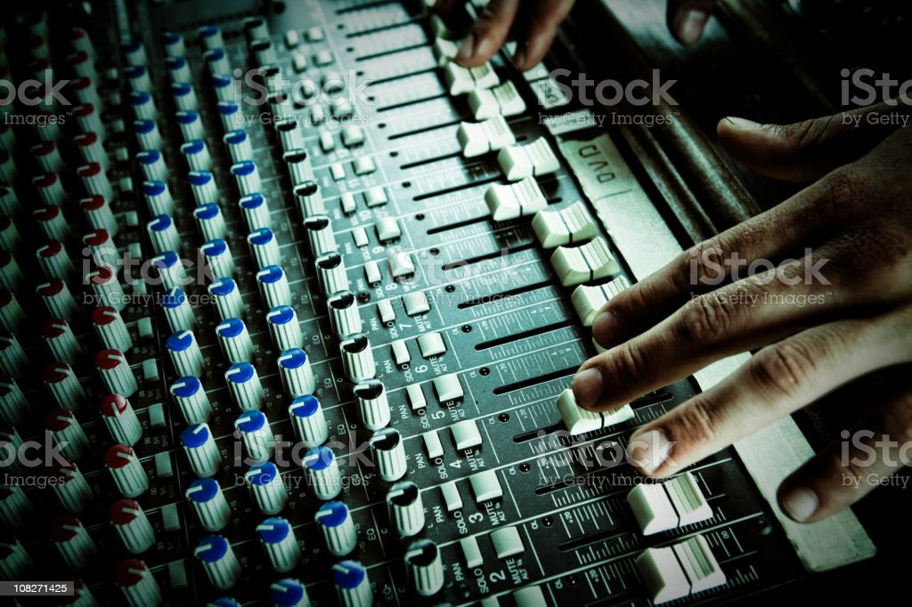 detail of a dj audio console royalty-free stock photo