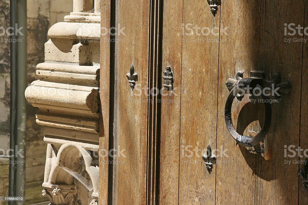 Detail of a door, Saint Denis Basilica Cathedral, France stock photo