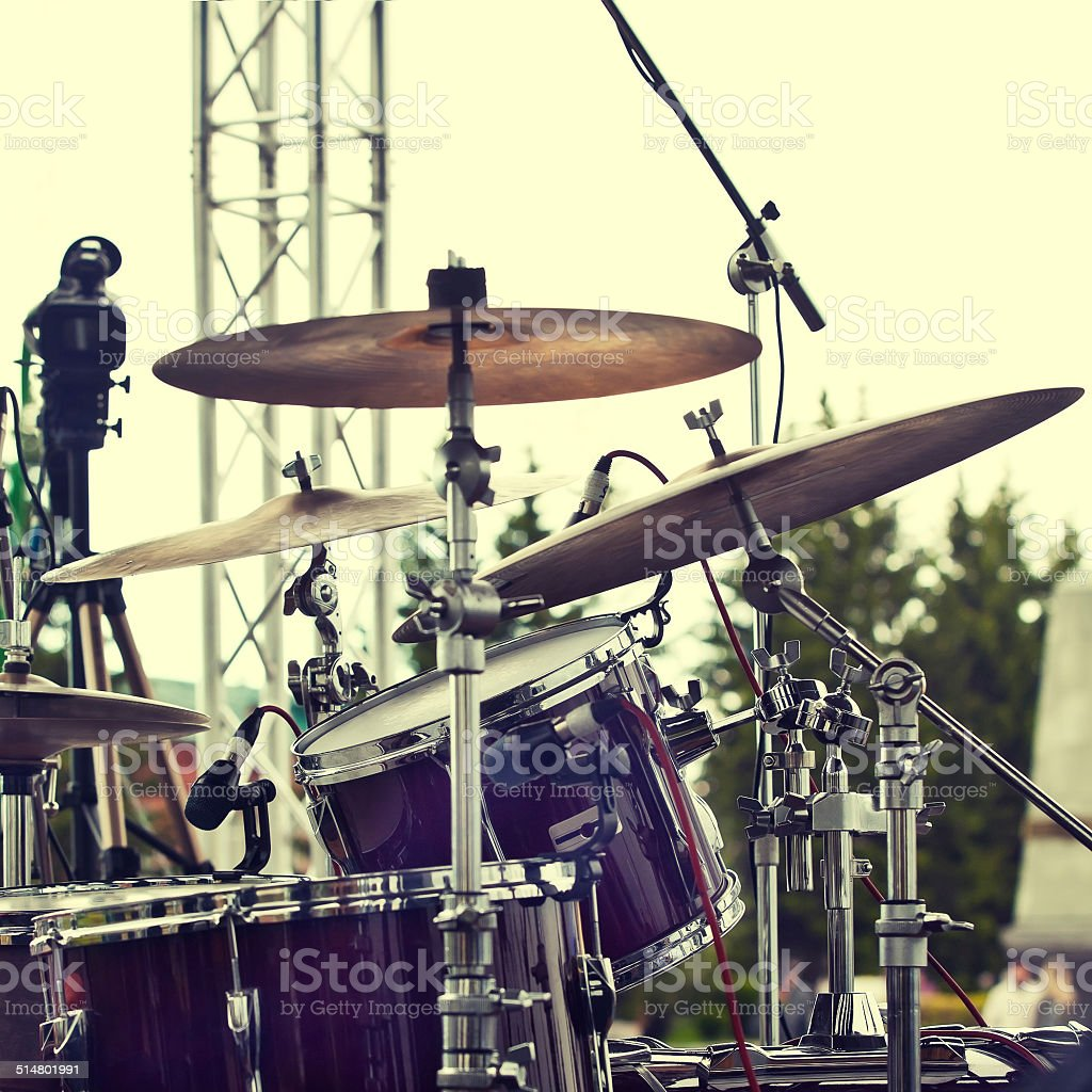 Detail of a drum set stock photo