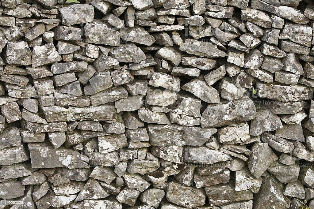 Detail of a Dry Stone Wall royalty-free stock photo